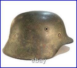 100% Authentic WW2 German Helmet M42 Camo Camouflage Steel Helmet, Gorgeous