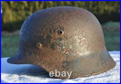 #14 WWII Germany German Original War Relic Combat Damaged Helmet M42 DECAL