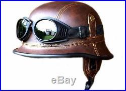 2nd WW 2WW WWII black German Vintage retro Replica helmet goggles eco leather
