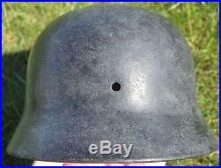 #69 WWII Germany German Original War Damaged Relic Combat Helmet M40 STRONG