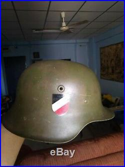 Antique rare WW2 German Troops Original M-42 Helmet marked NS06 a. Numbered 3781