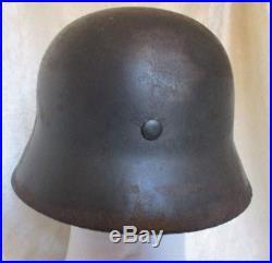Authentic WW2 German Army Heer M40 Helmet Battle Damaged + Liner & Chinstrap