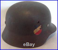 Authentic WWII German M35 Combat Helmet Double Decals Orig Liner Heer Eagle ET62