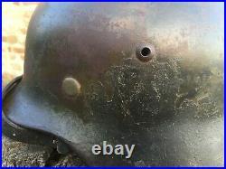 CASQUE ALLEMAND M35 CAMO DEUX COULEURS D'ORIGINE german helmet helm ww2