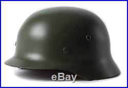 Collectable Steel WW2 WWII German M35 Helmet with leather chinstrap Army Green