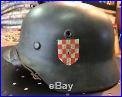 Croatian Volunteers Helmet M42 Élite Division Waffen Ww2 Handschar German Ustasa