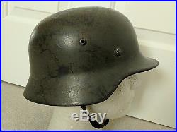 Excellent Original WW2 German M35 Luftwaffe Field Division Camo Helmet
