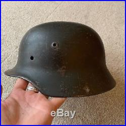 Fantastic WW2 Normandy Barn find German Helmet Original Green paint