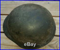 Genuine Large German Wwii M-42 Camo Combat Helmet Size 66 Liner 58 G. I Bringback