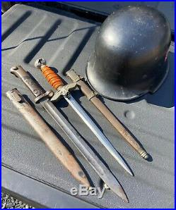 Genuine WWII German Military Helmet, Dagger and Mauser Bayonet