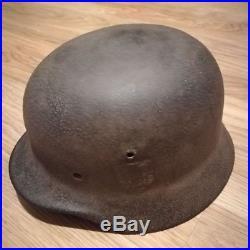 German Helmet M35 Q64 DD with Name & Combat Damaged 100% Original WW2