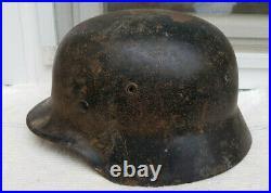 German Helmet M40 Size E. F. 66 Ww2 Stahlhelm Found Piece Complet