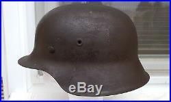 German Helmet M42 Size 68 Ww2 Stahlhelm Named Signed