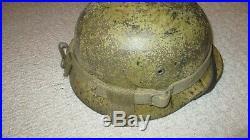 German WW2 Camouflage Helmet with rare helmet carrier Vet bring back Sicily