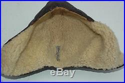 German WWII ORIGINAL Brown Leather Flight Helmet K/33