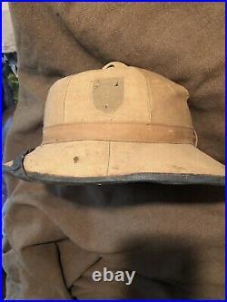 German WWII Tropical Afrika Korp Pith Helmet Size 57 Pre 1945 Vet Aquired