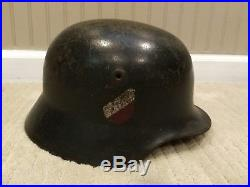 German Wehrmacht Helmet Rolled Edge Repro WWII Decals with Liner