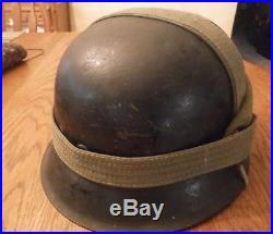 German Ww2 M42 Helmet, Liner, With Breadbag Strap