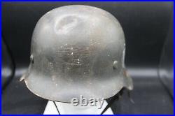 German Ww2 Steel Combat Helmet M42 Size 64 Original Paint Single Decal