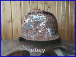 German Wwii Original Helmet Ww2 Rare Winter Camo