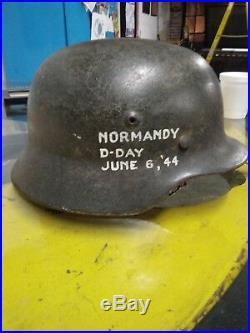 German helmet WWII ww2 original rare D Day. Museum Quality Condition