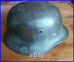 German helmet ww2 original, EF 66, M35, former double decal