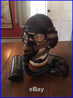 German ww2 luftwaffe summer flight helmet, oxygen mask and goggles