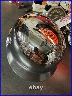 Harley Knucklehead Chromed WWII German helmet original Chopper