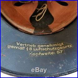 Luftschutz Gladiator Helmet WWII German air raid service, liner & chinstrap