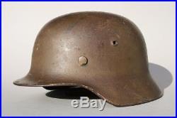 M35 German WW2 Steel Combat Camouflage Helmet, Brown Camo, untouched original