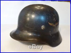 M35 WWII German Luftwaffe Helmet (F. W. Quist) D-Decal. Q62/1811 Badge/Lot