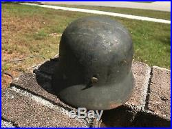 M35 heer Kriegsmarine German Helmet size Q64 550 missing chin strap rare wwII