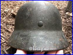 Named German WWII M-42 Combat Helmet Field Camouflage Repaint With SS Insignia