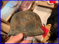 Nice WW2 German Normandy Grass Green & Brick Brown & Tan Camo Helmet