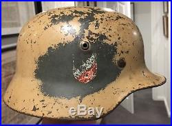 ORIGINAL Army Double Decal German WW2 Afrika Korps M35 Camo Helmet