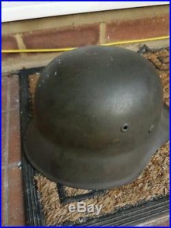 ORIGINAL WW2 GERMAN COMBAT HELMET WITH LINER, ORIGINAL PAINT & named