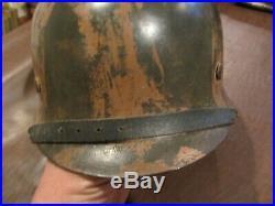 ORIGINAL WW2 NORMANDY PATTERN GERMAN M42 CAMO COMBAT HELMET w LINER & CHIN STRAP