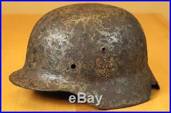 ORIGINAL WWII GERMAN M35 Single Decal Helmet KURLAND BATTLE DAMAGED