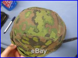 ORIGINAL WWII German ELITE Type 2 Camo Helmet Cover & Original Camo Helmet with Li