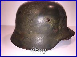 ORIGINAL WWII German M35 Army Helmet Normandy D-Day Camouflage NS62 Souvenir