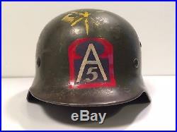 ORIGINAL WWII German M35 Helmet with U. S 5th Army Symbol & Signal Flags Souvenir