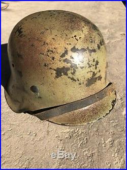 Original 1942 WWII GERMAN HELMET 3 Color Camo