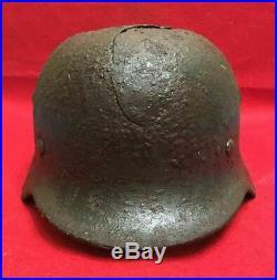 Original German Helmet M35 66 DD with Name Signature Combat damaged WW2