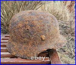Original German Helmet M40 Relic of Battlefield WW2 World War 2 Liner Decal
