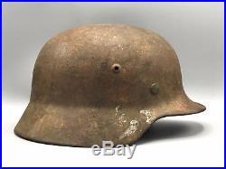 Original German WW2 M35 Semi Camo Helmet WWII Army Bringback KIA Damage Liner