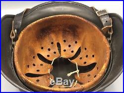 Original German WW2 M40 Semi Camo Helmet WWII Army Bringback Whitewash Chinstrap