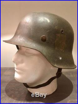 Original German WW2 M42 Helmet ET64 Named Chinstrap and Liner In Good Condition