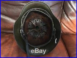 Original German WW2 M42 Helmet Polish name Rare and Good Condition