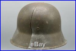 Original German WWII Battle Damaged M42 ND Helmet