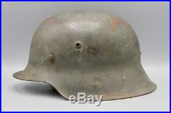 Original German WWII M42 No Decal Helmet Complete with Foliage Inside